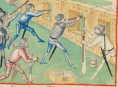 Hand gunners and crossbow from late 15th Century Schilling manuscript