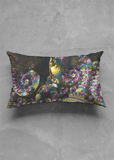 Accent Pillow - Matte Oblong - Spiral in Rainbow by VIDA Original Artist Accent Pillows, Throw Pillows, Spiral, Organic Cotton, Pillow Covers, Original Art, Rainbow, Abstract, Detail