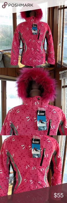 NWT Kalborn girls ski jacket NWT beautiful Kalborn sportswear ski jacket. Pink with butterflies and black/grey accents. Removable hood with fuzzy detail. Inside is very warm with sheerling fabric and a snow skirt with elastic on the waist and 2 snap closure. Zippered front with snaps and Velcro coverage, inner and outer pockets and vented armpits. Comes with extra snaps if ever needing to be replaced. Inner elastic drawstring on both sides to help keep snow out. Perfect condition, brand new…