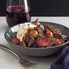 30-Minute Filet Bourguignonne with Mashed Potatoes | MyRecipes.com