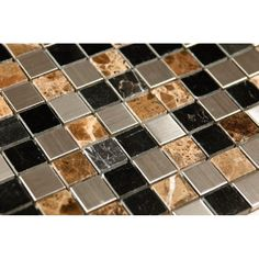 Sepia Stainless Steel and Stone Mix 12 x 12 Mosaic Tiles (Box of 11) (Box of 11), Brown