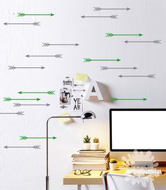 Arrow Wall Decal / 2 Color Arrow Wall Sticker / 24 Arrow Decal / Kids wall decoration / Home Decor by OhongsDesignStudio on Etsy https://www.etsy.com/listing/230249553/arrow-wall-decal-2-color-arrow-wall