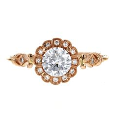 This romantic ring has taken Pinterest by storm, and it is now available at Kizer Cummings Jewelers!  With delicate vintage details in soft rose gold, and a unique milgrain scalloped halo, this ring embodies love at first sight.