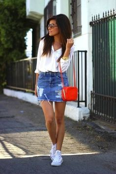 Women's White Dress Shirt, Blue Ripped Denim Mini Skirt, White High Top Sneakers, Orange Leather Crossbody Bag
