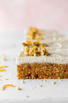 [No Bake] Healthy Carrot Cake Bars - my lovely little lunch box Raw Desserts, Healthy Dessert Recipes, Sweets Recipes, Healthy Baking, Cupcake Recipes, Baking Recipes, Whole Food Recipes, Healthy Sweets, Healthy Kids