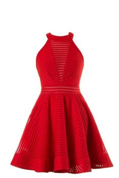 Red Sleeveless Summer Skater Dress With Cutout Back