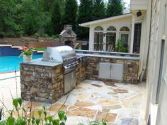 backyard barbeque, grill, fireplace, pool #home #garden