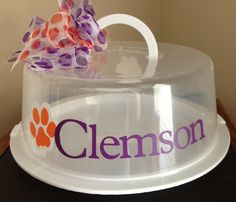 Personalized Cake Carrier - Clemson Small Cake Carrier -   TDY Designs