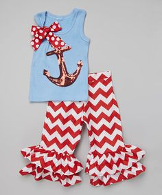 Look at this #zulilyfind! Red & Blue Anchor Tank & Ruffle Pants - Infant, Toddler & Girls #zulilyfinds