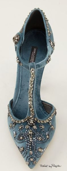 Pale blue tbar velvet embellished shoes by Dolce and Gabbana. Wedding shoes?