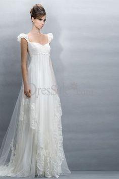 Ravishing Empire Plus Size Maternity Wedding Dresses with Capped Sleeve