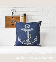 "$15   Throw Pillow Cover   Nautical Series   43x43cm 17""x17""   Classic Nautical Pillows   Home Décor Pillows   Country Homes Rustic Decor"