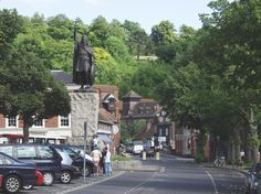 King Alfred's statue in the Broadway, Winchester, Hampshire.