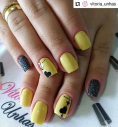 HEART - 50 Best Valentine& Day Nail Art Don't go breaking my heart boys! Today we have 50 of the very Best Valentine's Day Nail Art! Yellow Nails Design, Yellow Nail Art, Red Nail Art, Pink Nails, Nail Art Jaune, Cute Nails, Pretty Nails, Nail Art Designs, Nail Effects