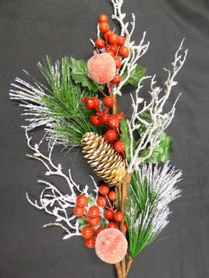 Artificial Berry and Frosted Apple Pine Cone Stem Christmas Decoration Red Berries, Pine Cones, Garden Furniture, Berry, Christmas Decorations, Apple, Accessories, Lawn Furniture, Blueberry