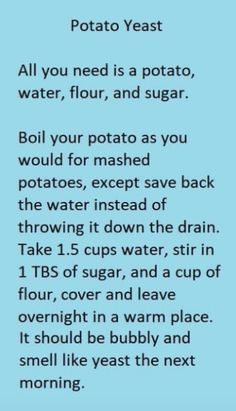 Potato Yeast Starter for Baking Bread - Baking Recipes Baking Tips, Bread Baking, Baking Recipes, Bread Recipes, Baking Secrets, Yeast Bread, Recipe For Bread, Baking Substitutions, Yeast Free Breads