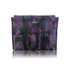 Pursetti Zip-Top Organizing Utility Tote Bag with Multiple Exterior & Interior Pockets for Working Women, Nurses, Teachers and Soccer Moms (Purple Circle) Teacher Tote, Teacher Gifts, Organizing Utility Tote, Log Home Interiors, Nursing Shoes, Purple Bags, Working Woman, Multiplication, Vera Bradley Backpack