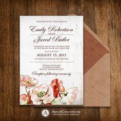 Weddings Invitation Printable Rustic Botanical Invite Spring / Summer outdoor / garden wedding INSTANT DOWNLOAD Red Poppy EDitable Template