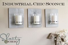 Industrial Chic Sconce  Great idea to use with those battery operated candles...not sure I would use real flame ones...just a thought