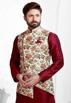Digital Printed Art Silk Nehru Jacket in White and Multicolor