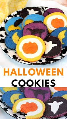 These slice and bake halloween cookies are easy fun halloween sugar cookies with surprise designs hidden inside! you won t be able to get enough of these this halloween! from sugarhero com sugarhero halloween dessert cookies wein likr nach marsala art Halloween Cupcakes, Halloween Torte, Halloween Backen, Postres Halloween, Dessert Halloween, Halloween Sugar Cookies, Halloween Food For Party, Halloween Halloween, Halloween Dessert Recipes