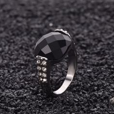 Rhinestone Ring Antique Jewelry White Gold Filled Cubic Zircon Black Stone Ring For Women Men Party Gift Bijoux nj59