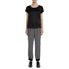 Laterale Pantalone I'M Isola Marras modello turca con fantasia bianca e nera optical