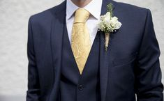 This gorgeous Lambretta three-piece dark navy suit is teamed with a yellow tie for a dramatic effect Navy Yellow Weddings, Navy Blue And Gold Wedding, Blue Suit Wedding, Wedding Tux, Diy Wedding, Wedding Favors, Wedding Bouquets, Wedding Flowers, Wedding Invitations