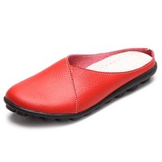 Hot-sale SOCOFY Big Size Pure Color Soft Sole Casual Open Heel Lazy Flat Shoes - NewChic