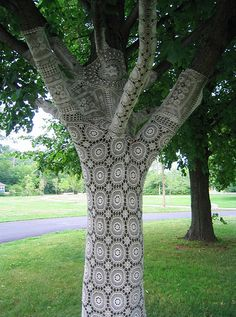 by janet morton: crocheted tree-cozy