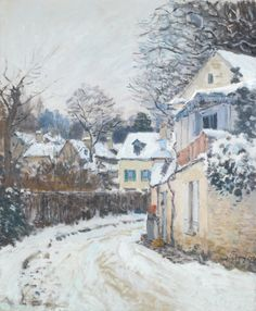 ALFRED SISLEY 1839 - 1899 ROUTE À LOUVECIENNES signed Sisley and dated 74 twice (lower right) oil on canvas 65 by 54cm. Painted in 1874.