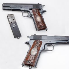 Siberian Expedition M1911- Some US forces were deployed to Russia from August 1918 to June 1920  our .45 ca GOTD was there. The Siberian Expedition included 7,950 US officers/soldiers, many of which were armed with the M1911, including this example with grip panels customized by former German POWs that were part of the American Expeditionary Force. Under cold weather conditions, the M1911 .45 handgun was favored for personal protection while other sidearms with leaf springs didn't fare as well.