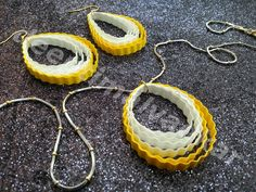 Yellow  and White frilled Quilling pendant set