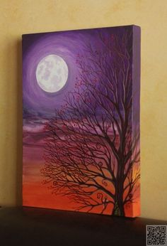 17. #Moonlit Scene - 31 #Paintings You Can Copy for Your Own House ... → DIY #Example