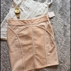 Free People lace skirt Free people lace skirt. Soft peach color Sorry, no trades!  No ️️  If you want to make an offer, please use the offer button! I consider all offers!  If you have any questions, let me know ☺️ Free People Skirts
