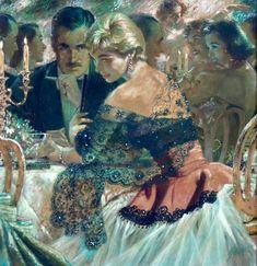 Painting by Edwin Georgi Gothic Fantasy Art, Grunge Art, Rolf Armstrong, Pulp Art, Blue Aesthetic, Up Girl, Looks Cool, Artist Art, Female Art