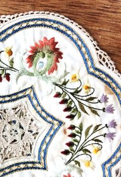 19th century embroidered mats http://www.embroiderersguild.com/
