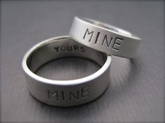 Youre Mine, Im Yours Rings - Sterling Silver Promise Ring/Wedding Band Set - 1.5mm via Etsy
