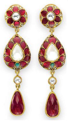 Diamond, Ruby and Emerald Drop Earrings Ruby Jewelry, Gemstone Jewelry, Jewelry Box, Jewelry Accessories, Fine Jewelry, Jewelry Design, Emerald Earrings, Jewellery, Drop Earrings