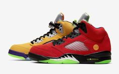 "Following a pretty tame effort on the Air Jordan 4 and a well-received ""Top Three"" rendition of the Air Jordan 5, Jordan Brand looks to deliver their most audacious mash-up yet on this ""What The"" Air Jordan 5 that comes infused with some of the silhouettes most revered releases — and today we've got your best … Jordan 5 Low, Jordan 12 White, Air Jordan 5 Retro, Space Jam, Bape, Latest Sneakers, Sneakers Nike, Jordan Release Dates, Jordan Spieth"