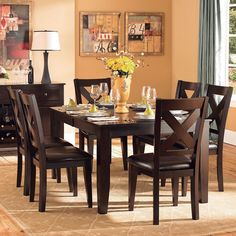 Tribecca Home Acton Warm Merlot X-back Casual 7-piece Dining Set | Overstock™ Shopping - Big Discounts on Tribecca Home Dining Sets