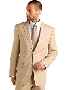 Mens - Andrew Fezza Tan Linen Slim-Fit Suit - Men's Wearhouse    Only $199 to buy outright!