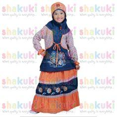 Flower Blue Top-Orange Bottom Moslem Girl Dress. Detail and order, pls visit http://www.shakuki.com/1714,2407-0435-flower-blue-top-orange-bottom-moslem-girl-dress.html