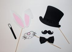Magician Photo Booth Props - Bunny Ears, Mouth, Top Hat & Wand on Etsy, $18.00