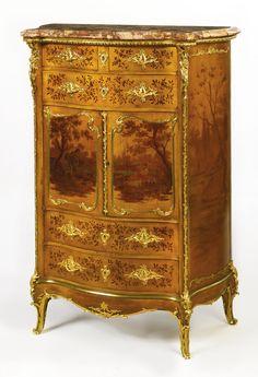 JOSEPH-ÉMMANUEL ZWIENER FL. CIRCA 1875-1900 A LOUIS XV STYLE GILT-BRONZE MOUNTED VERNIS MARTIN DECORATED SIDE CABINET PARIS, LATE 19TH CENTURY