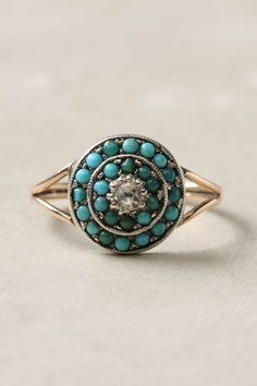 Victorian Turquoise and Diamond Ring.