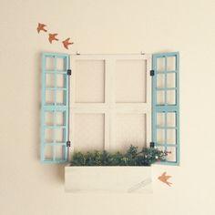 コンテスト参加/ダイソーインテリアシート/ダイソー/セリア窓枠/フレーム窓…などのインテリア実例 - 2015-02-28 07:37:59   RoomClip(ルームクリップ) Dollar Stores, Diy And Crafts, Green, Handmade, Home Decor, Style, Windows, Doors, Miniatures