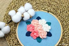 cast on stitch flower hand embroidery  Kim Alpaca's video tutorial with DMC tapestry wool thread  울사 자수 꽃다발 수놓기 Hand Embroidery, Bouquet, Kids Rugs, Floral, Flowers, Decor, Decoration, Kid Friendly Rugs, Bouquet Of Flowers