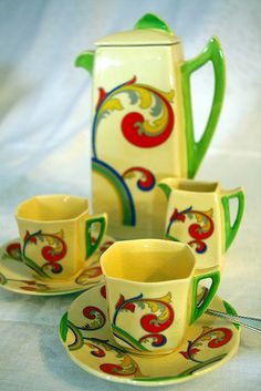 Royal Doulton Art Deco Coffee or Tea Set. So colorful. Rosemaling design.