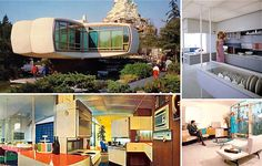 Monsanto's House of the Future at Disneyland. It wasn't just a theme park attraction, it was a prototype of sorts for the forward-thinking, mod homeowner-to-be of the It's the house I was. Disneyland Tomorrowland, Tokyo Disneyland, Richard Hamilton, Walt Disney Imagineering, Disney California, Anaheim California, California Usa, Vintage Disneyland, Mid Century House